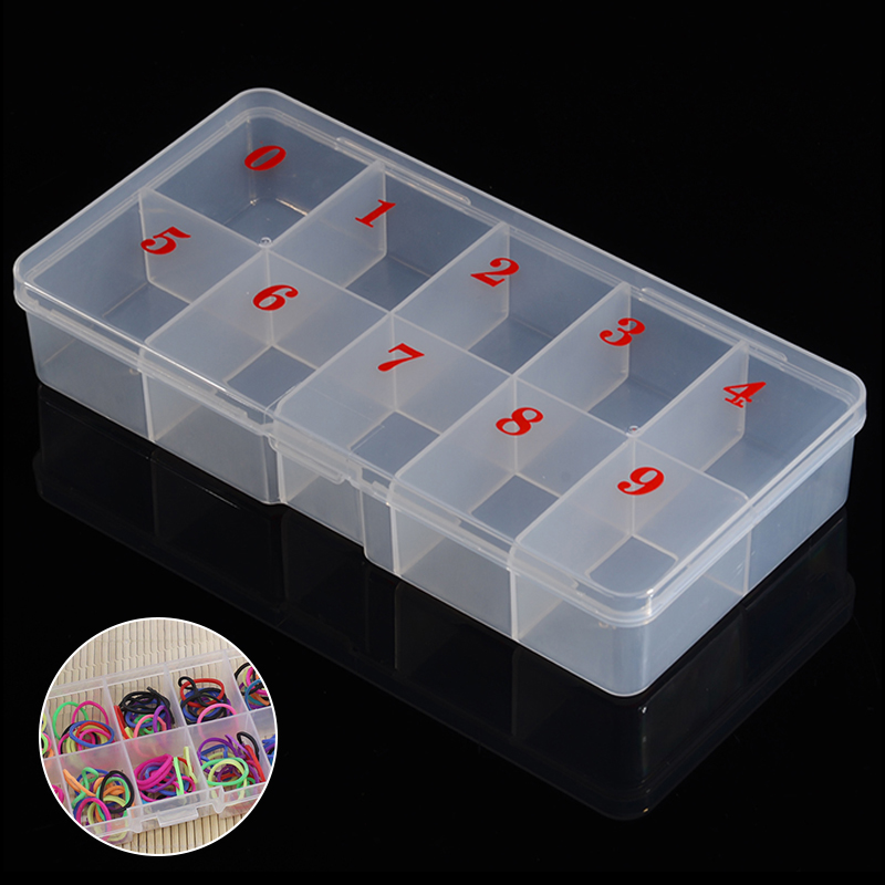 Shellhard High Quality Nail Storage Case Clear Plastic 10 Slots Empty Nail Art Tips Rhinestone Beads Storage Box