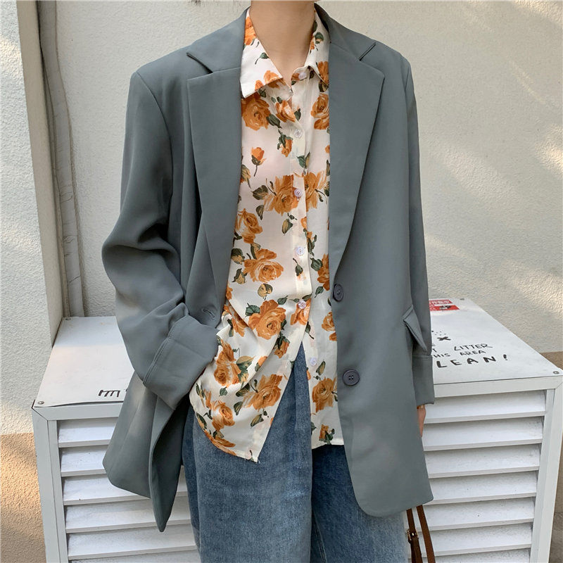 HziriP High Quality All Match Hot Brief Casual Fashion Lapel Basic 2020 Hot Sale Brief OL Loose Solid Women Office Lady Blazers