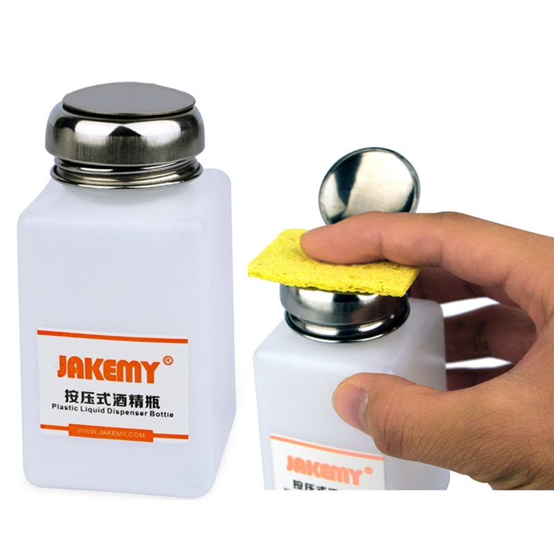 JAKEMY Alcohol Bottle 120/180ML With Stainless Steel Bottle Cap For Mobile Phone Repair Clean Anti Static Liquid Plastic