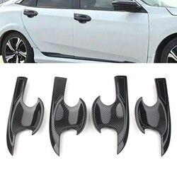 For Honda Civic 2016 2017 2018 Car Door Handle Bowl Cover Trim Decoration 4Pcs/Set Carbon Fiber Style ABS Plastic