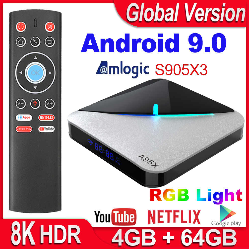 A95X F3 Aria Smart Tv Box Android 9.0 Amlogic S905X3 4 Gb 16 Gb 32 Gb 64 Gb Wifi Netflix 4K Youtube Media Player 8K Rgb Luce Tv Box