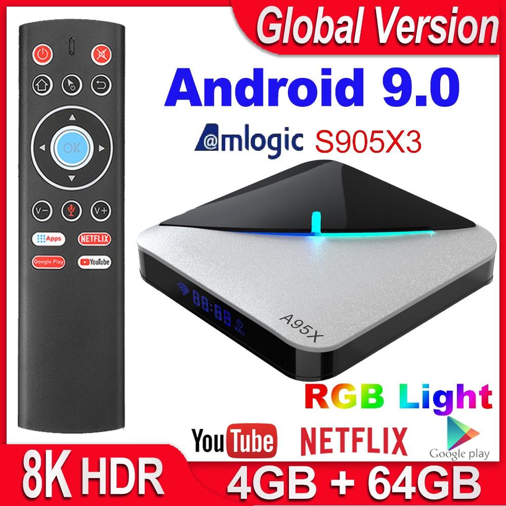 A95X F3 Air Smart TV BOX Android 9 0 Amlogic S905X3 4GB 16GB 32GB 64GB Wifi Netflix 4K Youtube Media Player 8K RGB Light TV Box