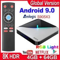 Caixa de tv smart a95x f3 air  android 9.0  amlogic s905x3 4 gb 16 gb 32 gb 64 gb wi-fi netflix 4 k youtube media player 8 k rgb luz tv caixa