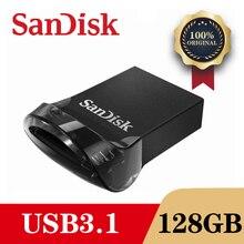 샌디 스크 CZ430 미니 USB 3.1 플래시 드라이브 디스크 128 기가 바이트 64 기가 바이트 32 기가 바이트 16 기가 바이트 펜 드라이브 작은 Pendrive 메모리 스틱 저장 장치 플래시 드라이브