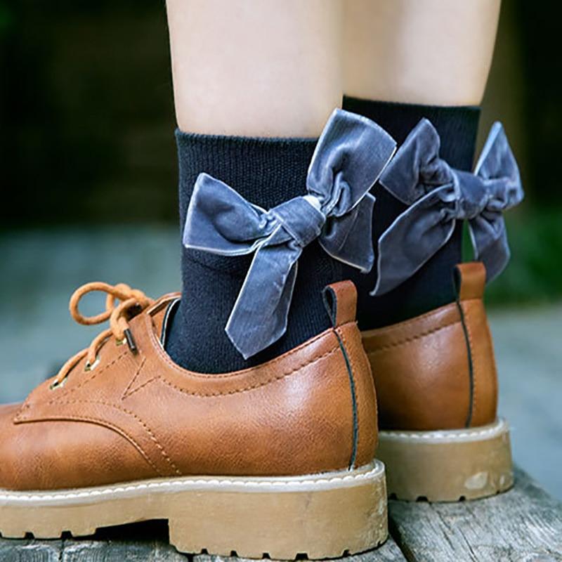 Women Socks Elegant Sweet Bow Tie Lady Girls Kawaii Sock Vintage Soft Heap Elasticity Cute Cotton Elastic Hosiery Casual Sokken