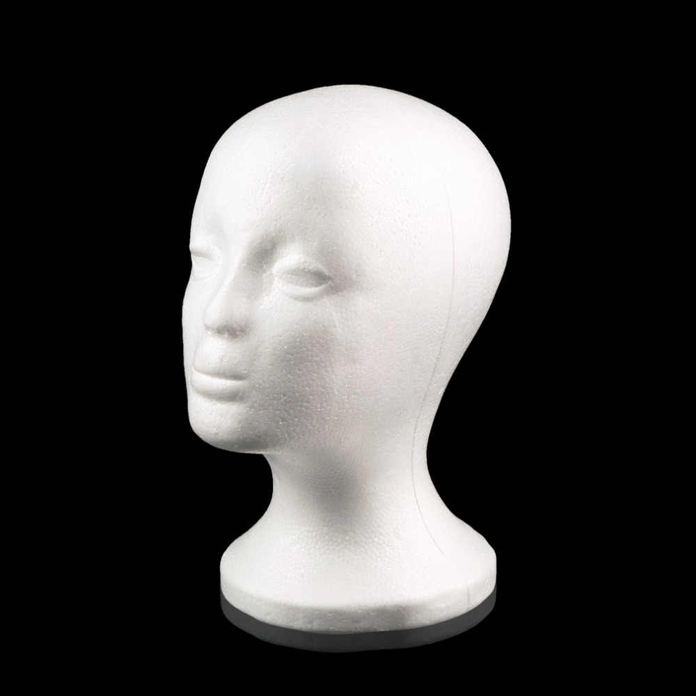 White Female Styrofoam Mannequin Manikin Head Model Foam Sponge Wig Hair Glasses Cap Storage Novelty Display Stand Home Decor