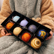 8 Pcs 3D Planet Night Light USB Touch Control Galaxy Lamp with Wooden Stand