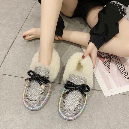 Lamb hair full of snow boots female 2019 winter fur flat bottom plus velvet lazy boots 25
