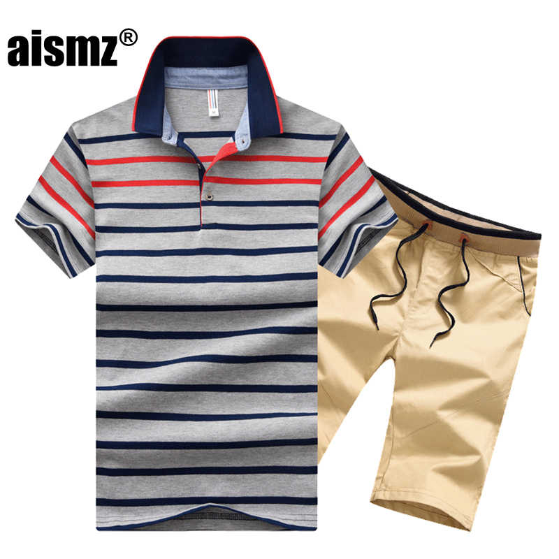 Aismz ใหม่ 2 ชิ้นชุดกีฬาผู้ชายลาย Tracksuit ผู้ชาย Moletom Masculino ชุดฤดูร้อน Sweatsuit Mens เสื้อโปโลชุด