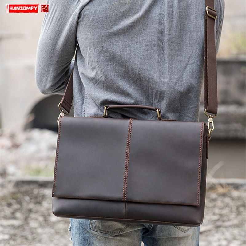 New Handmade Leather Men's Handbag Business Bag First Layer Leather Men's Retro Computer Messenger Bag Cross Section Briefcase