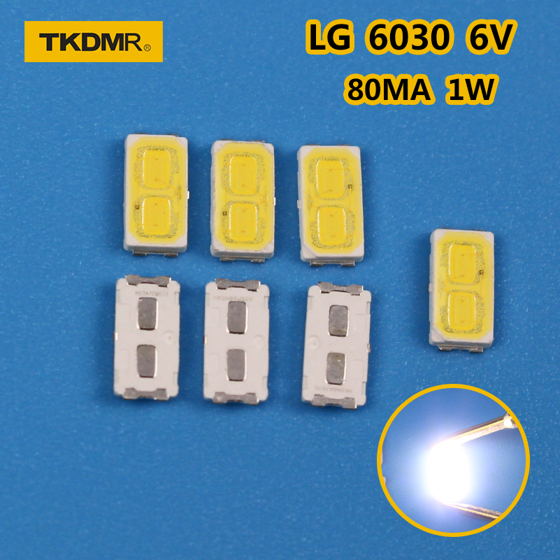 TKDMR 50pcs/LOT LG SMD LED 6030 6V 1W Cold White For TV Backlight LED Beads Free Shipping
