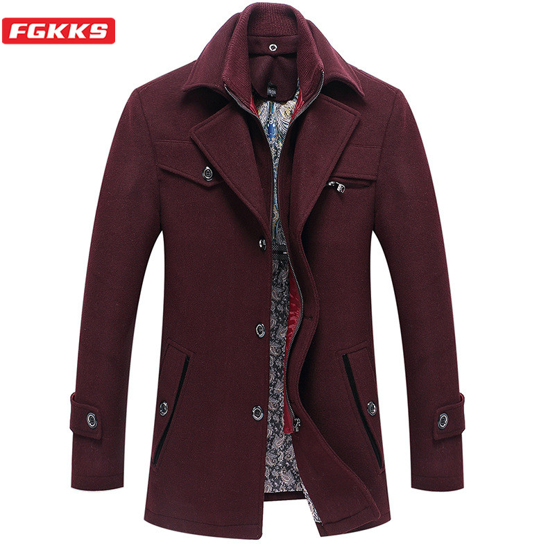 FGKKS Men Wool Blend Coat Winter Brand Men's High Quality Fashion Overcoat Solid Color Casual Wool Coats Male Clothing