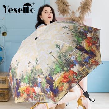 Yesello Oil Painting Folding Umbrella Women Sun Innovative Ultralight Pocket Wind Resistant