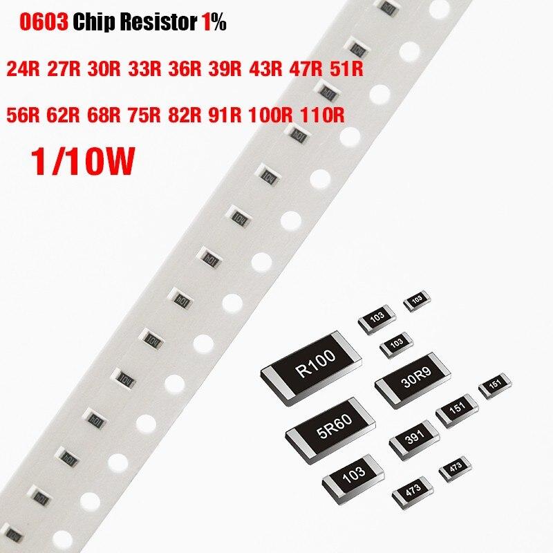200 шт./лот чиповый резистор SMD 0603 1% 24R 27R 30R 33R 36R 39R 43R 47R 51R 56R 62R 68R 75R 82R 91R 100R 110R Ohm 1/10W