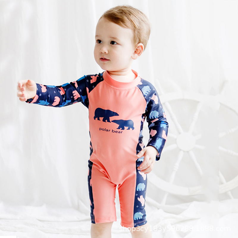 KID'S Swimwear Bao Lian Body Sun-resistant Quick-Dry Foreign Trade Boys And Girls Small CHILDREN'S Long Sleeve Zipper Infant CHI
