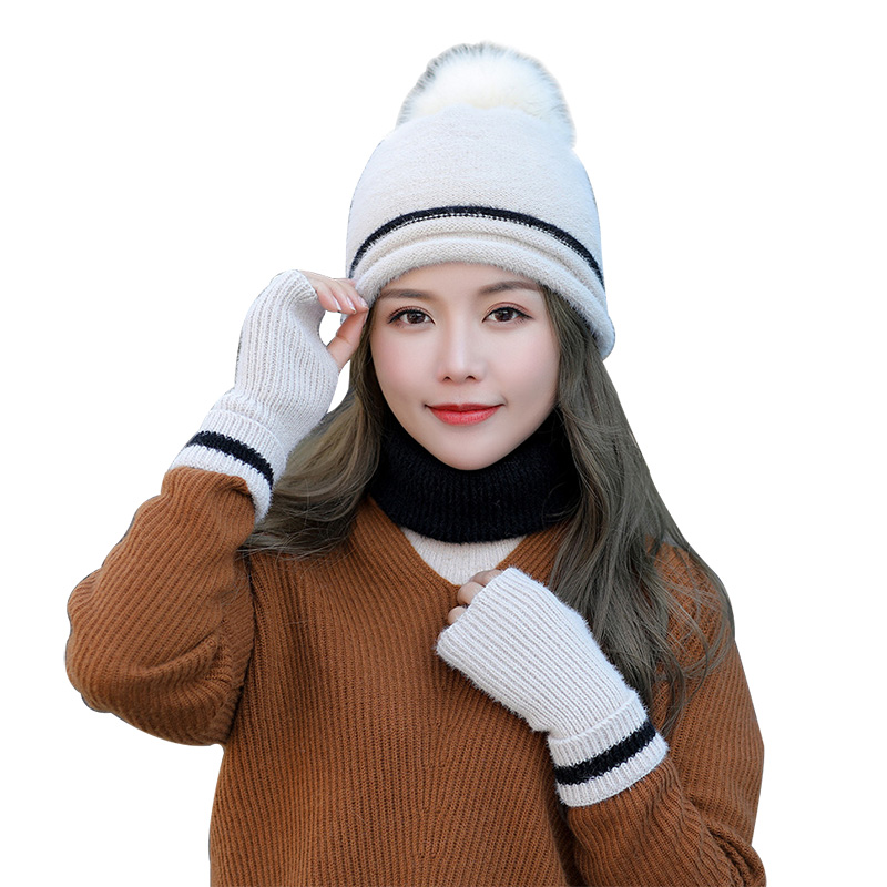 2020 New Autumn Winter Knit Women's Scarf Cap And Gloves Faux Fur Pompom Hats For Girls Solid Warm Beanies Scarves Mitten Sets