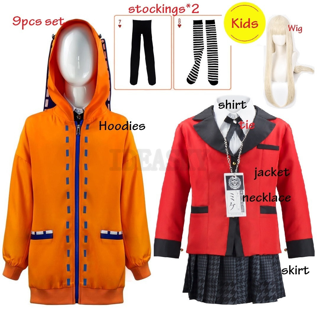 Kinder Mädchen JP Anime Kakegurui Cosplay Kostüm Halloween Jabami Yumeko Cosplay Kostüm Igarashi Sayaka COSPLAY schuluniform Set