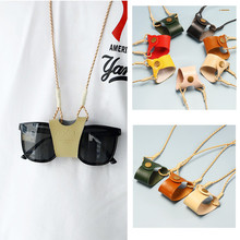 2020 New Fashion Hanging neck Clip Glasses Bags Women Man Portable Case Leather Glasses lanyard Cute Protection Cover
