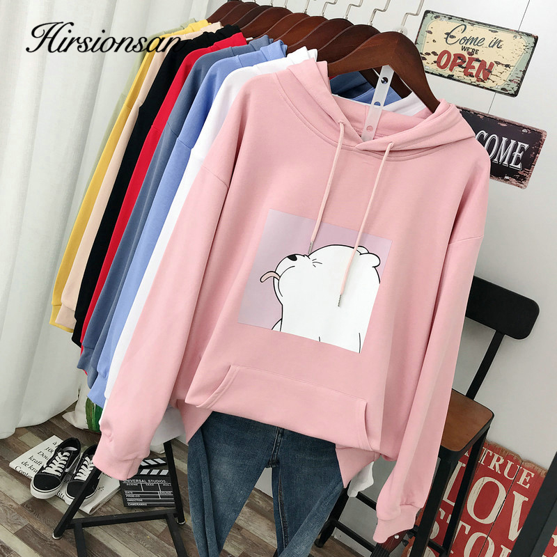 Hirsionsan Winter Hoodie Sweatershirt Womens Cute Bear Print Cotton Cartoon Pocket Basic Pullover Oversized Hooded Casual Jumper