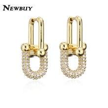 Newbuy design do vintage de luxo aaa cz feminino casamento brinco ouro cor gota brincos para mulheres festa jóias atacado