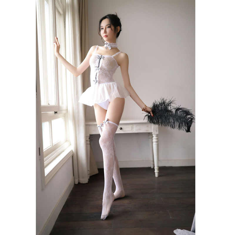 Sexy lingerie bodysuit erotic sexy uniform role-playing maid uniform sexy skirt for sex lace fishnet bodysuit dress mini skirt