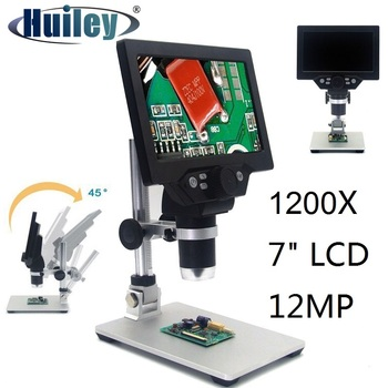 1200X Microscope Digital Portable 7 LCD Video Microscope 12MP for Soldering Electronic PCB Inspection Continuous Zoom trinocular stereo microscope 7 45x continuous zoom binocular usb microbial magnifying video tv tube bst x6 with display screen