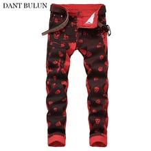 Men Jeans Brand Straight Slim Denim Jean Skull Printed Designer Cotton Pants Hip Hop  Elasticty Pencil Streetwear Hombre