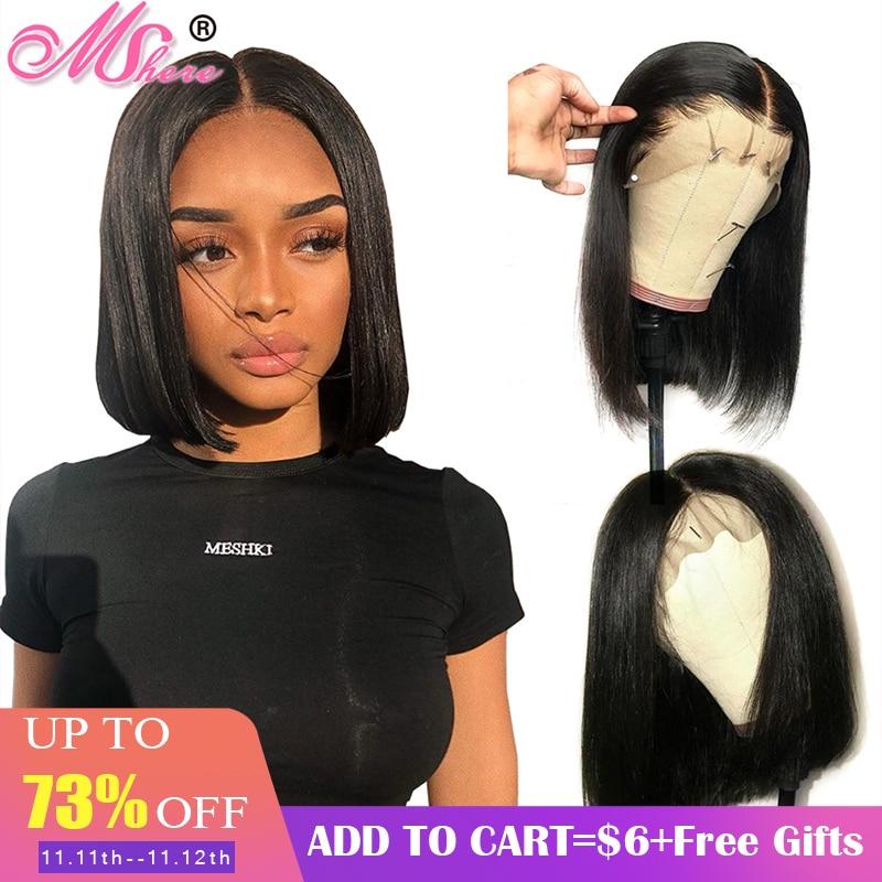 Brésilienne droite courte Bob perruque sans colle dentelle avant perruques de cheveux humains pour les femmes noires pré plumées avec des cheveux de bébé Remy cheveux