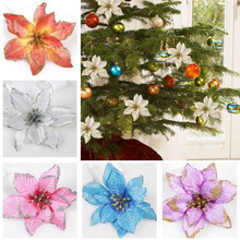 A 8Pcs Artificial Fabric Flower Glitter Wedding Party Decor Christmas Xmas Tree Decoration Wall Window Stickers Ornaments 112