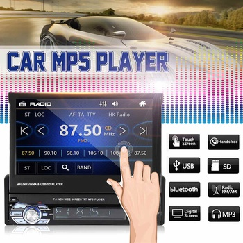 7 inch Single 1DIN Car bluetooth Audio Stereo MP5 Player Autoradio GPS Navigation bluetooth FM Touch Screen Rear View Parking image