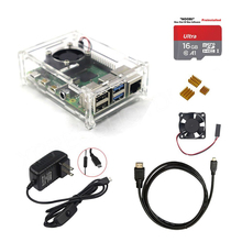 2019 Latest Original Raspberry Pi 4 Model B Starter Kit Acrylic Case Fan Heatsink HDMI+ power supply charger for RPI4