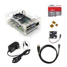 2019 ultime Originale Raspberry Pi 4 Modello B Starter Kit Acrilico Caso Ventola del Dissipatore di calore HDMI + caricatore di potere del rifornimento per RPI4