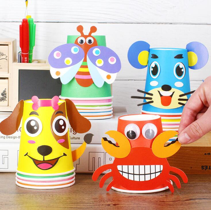 12pcs Children 3D DIY Handmade Haper Cups Sticker Aterial Kit Whole Set Kids Kindergarten School Art Craft Educational Toys