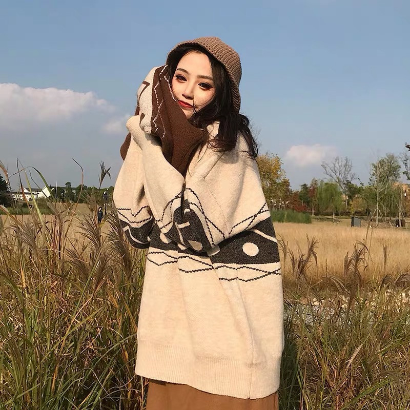 Focal20 Streetwear Geometric Women Sweater Top Loose Crew Neck Female Jumpers Pullovers Casual Spring Autumn Lady Sweaters Tops 3