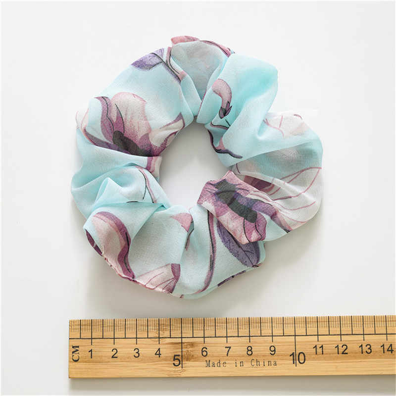 2019 New Spring Flower Hair Scrunchies Ponytail Holder Soft Stretchy Hair Ties Vintage Elastics Hair Bands for Girls Accessories