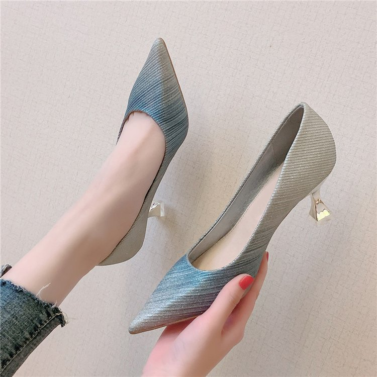 Women Dress Shoes Gradation Pumps Pointed Toe Silver Wedding Shoes Woman Glasses Heels Boat Shoes Bridal zapatos mujer