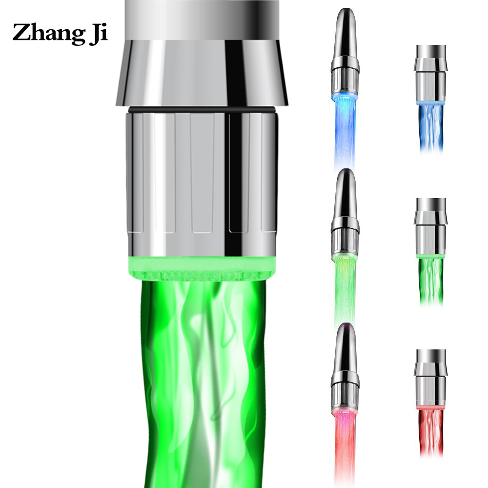 Zhangji Bathroom Temperature Control 3 Color Water Power Shower Tap Light  Water Saving Kitchen Aerator Led Faucet Aerator Light