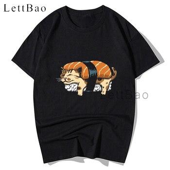 Camiseta Kawaii NEKO SUSHI de dibujos animados para hombre, estampada camiseta negra para parejas, camiseta Harajuku de gran tamaño, camisas Unisex para hombres para niños