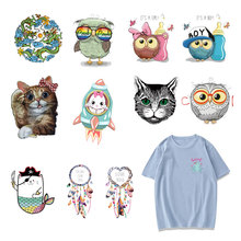 Cute Owl Patch Iron on Transfer Dreamcatcher Animals Patches for Clothing Kid DIY T-shirt Sticker Applique on Clothes Heat Press цена
