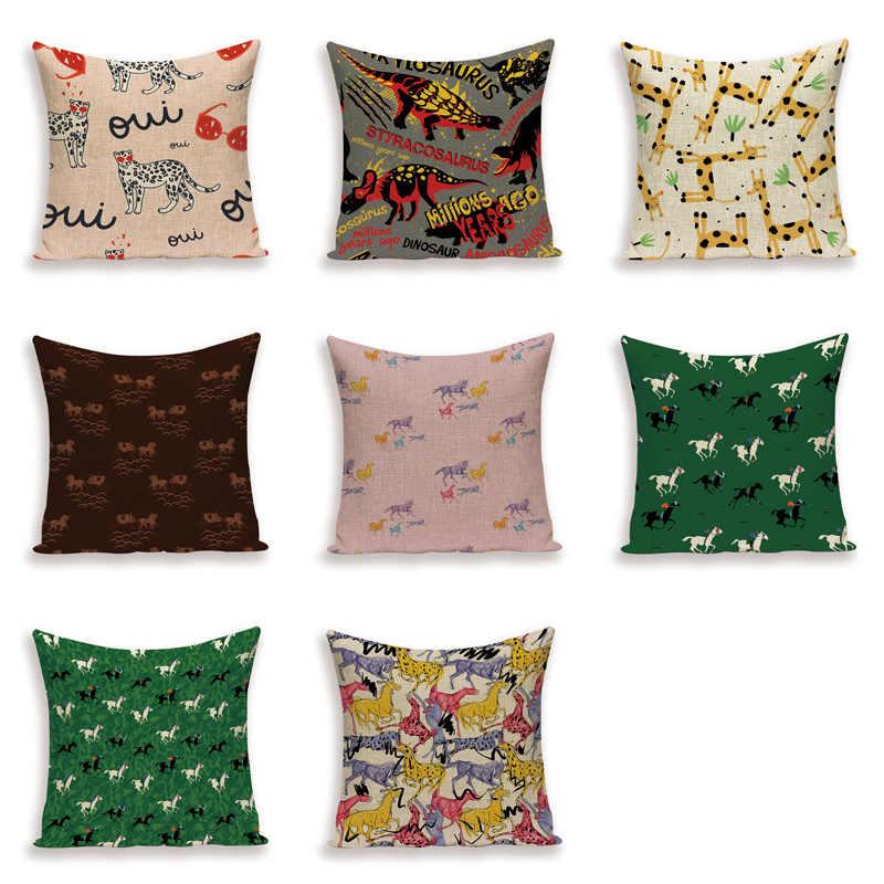 Lovely Horse Cushion Cover Leopard Giraffe Throw Pillow Case Animal Home Decorative Sofa Bed Linen Pillows Cushions Cases Kissen