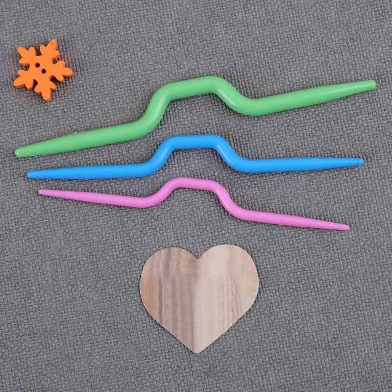 3 PC Melengkung Syal Sweater Rajut Twist Jarum Crochet Hook Tenun Alat Jahit Aksesoris Melengkung Jarum Kerajinan DIY Alat Jahit