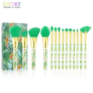 Image 2 - Docolor 14 pçs pincéis de maquiagem conjunto beleza fundação pó sombra compõem escova cabelo sintético cosméticos compõem escova ferramenta