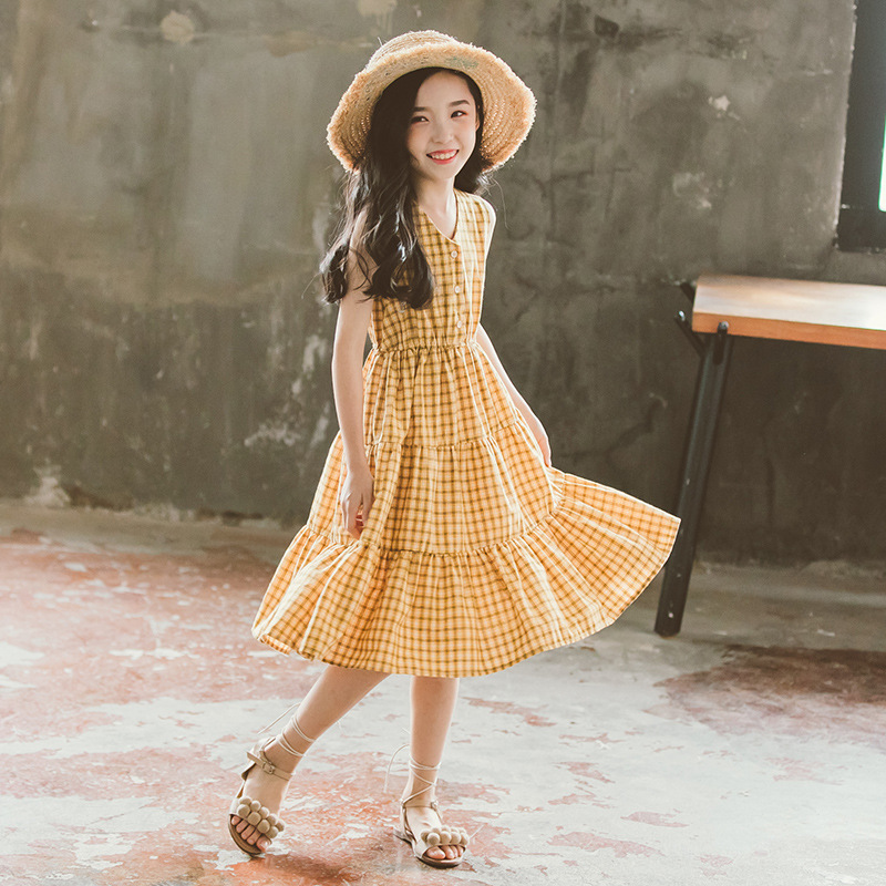 Girls Beach Dress plaid Pattern Dress For Girl Casual Dress Kids Summer Costumes For Girls 6 8 10 12 14