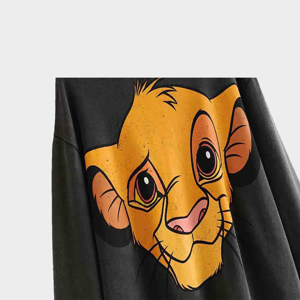 2019 ZA New Disney Lion Print Fashion Hooded Sweatshirt Women Autumn Winter Clothes Casual Slim Boho Sweatshirt Party Wholesale