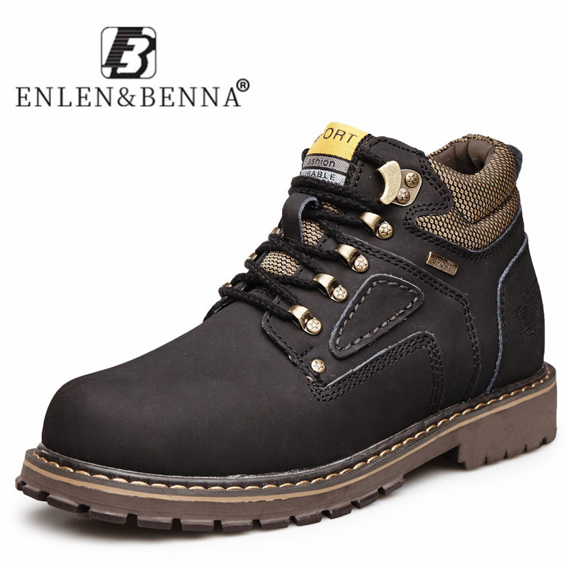 Imported From Abroad Genuine Leather Ankle Boots Men Wear Resisting High Top Casual Shoes Men Flats Lace Up Non Slip Outdoor Working Military Boots