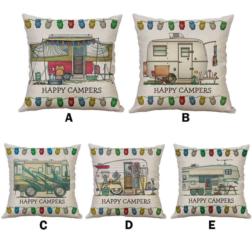 happy campers simple rv pattern linen creative lovely pillow cover pillow cover car pillowcase sofa chair club party decor f1 pillow case aliexpress