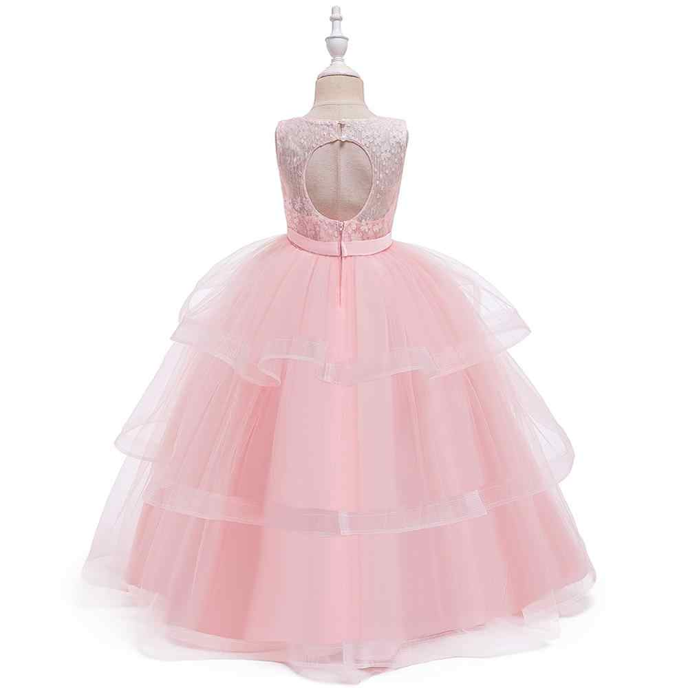 JaneyGao のフラワーガールの王女ガールフォーマルウェディングパーティーのためピンク青紫色 6 色在庫