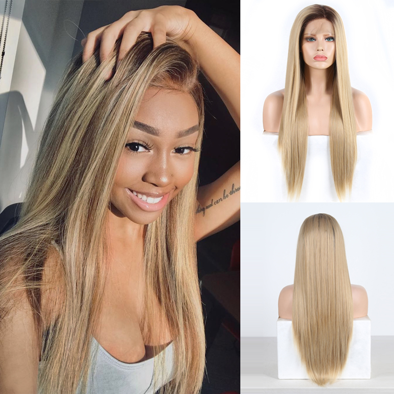Charisma Synthetic Lace Front Wig Ombre Blonde Wig With Brown Roots Heat Resistant Long Straight Hair Wigs For Women