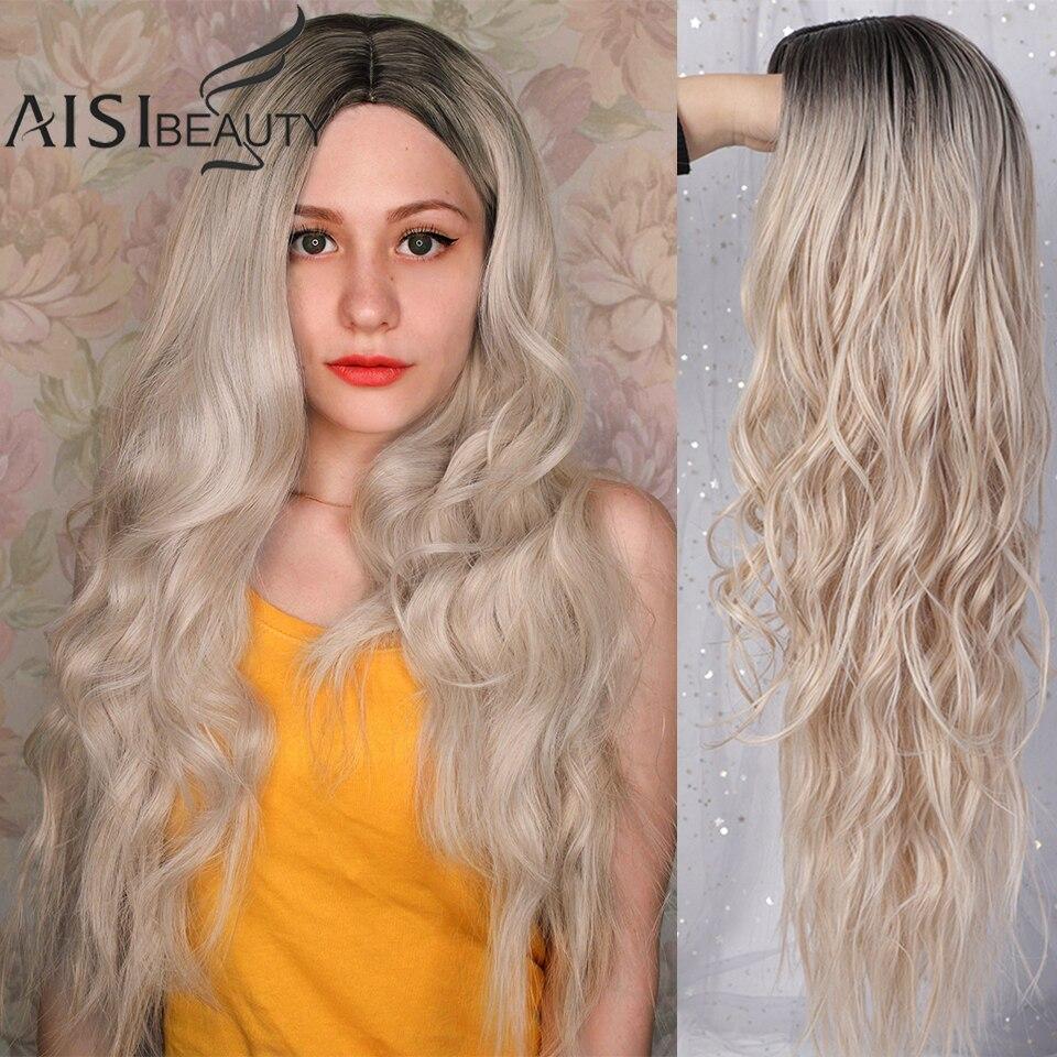 AISIBEAUTY длинные волнистые парики для женщин синтетические парики омбер блонд/Красный парики средняя часть Термостойкое волокно 13 цветов в на...