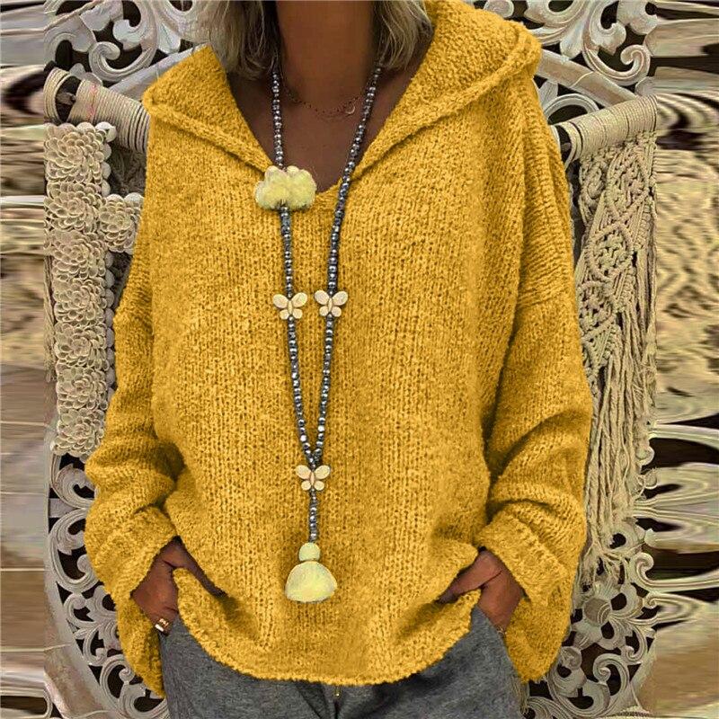 Женский вязаный свитер с длинным рукавом, свободный Однотонный свитер с капюшоном, большие размеры